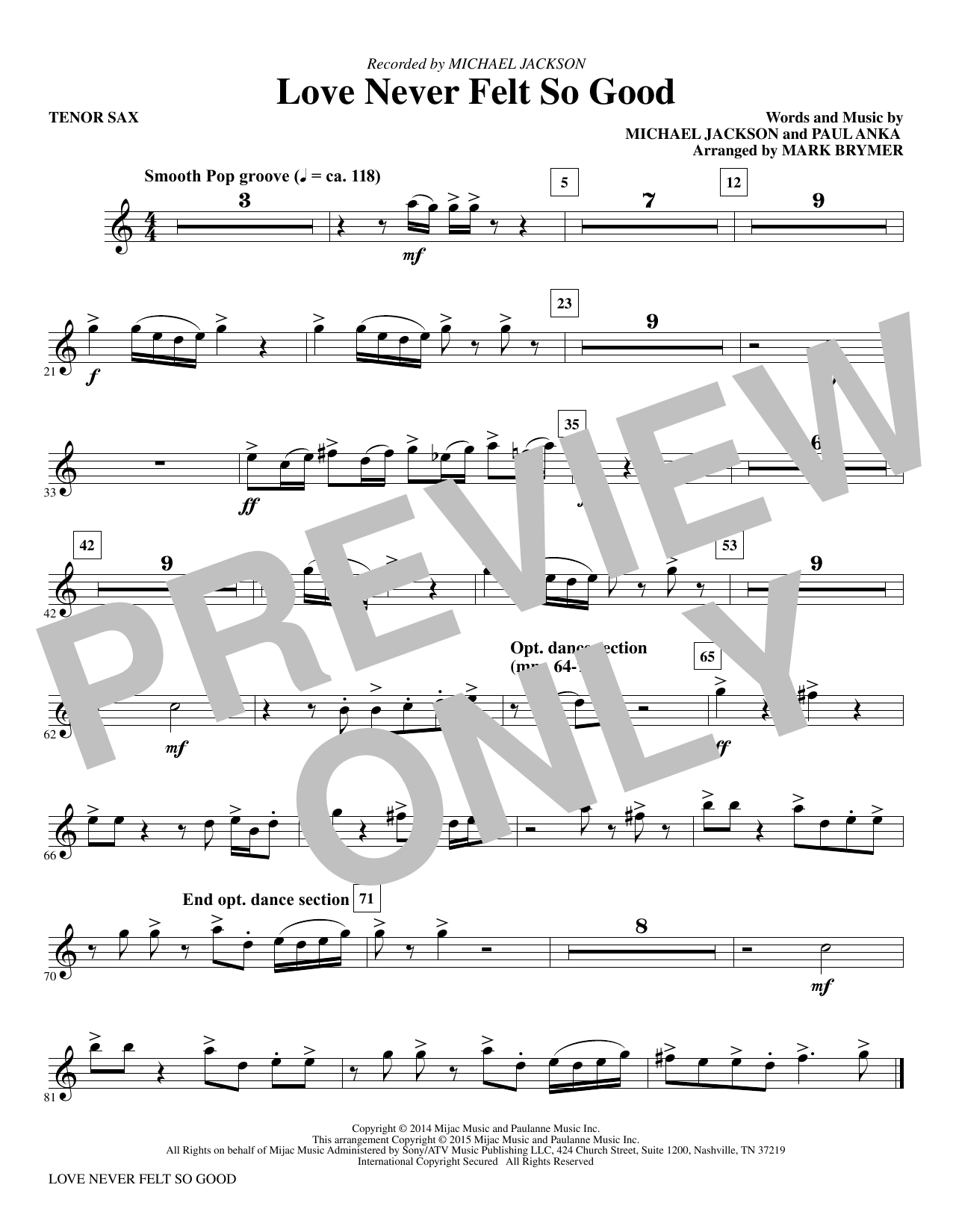Mark Brymer Love Never Felt So Good - Bb Tenor Saxophone sheet music notes and chords. Download Printable PDF.