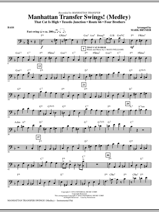 Mark Brymer Manhattan Transfer Swings! (Medley) - Bass sheet music notes and chords. Download Printable PDF.