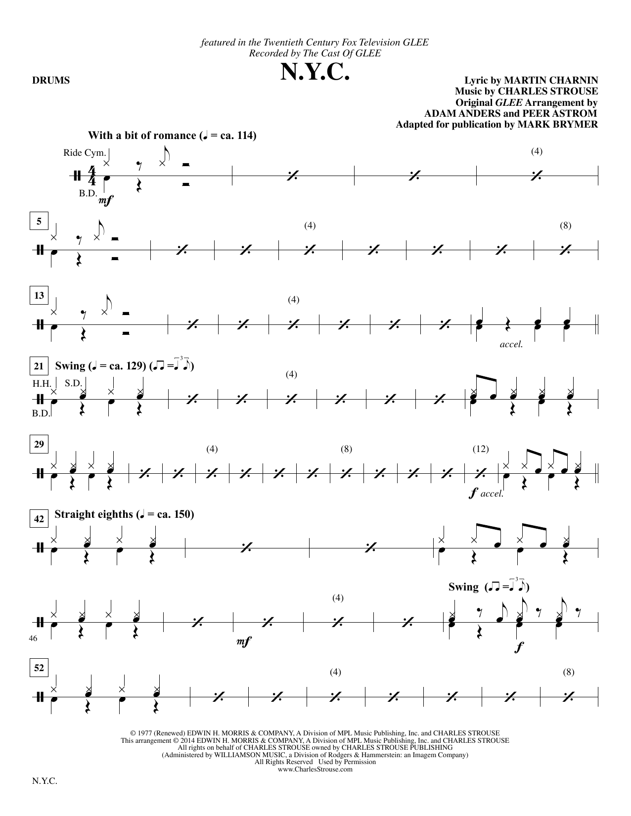 Mark Brymer N.Y.C. - Drum Set sheet music notes and chords. Download Printable PDF.