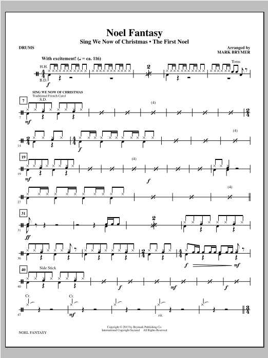 Mark Brymer Noel Fantasy - Drums sheet music notes and chords. Download Printable PDF.
