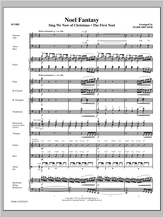 Mark Brymer Noel Fantasy - Full Score sheet music notes and chords. Download Printable PDF.