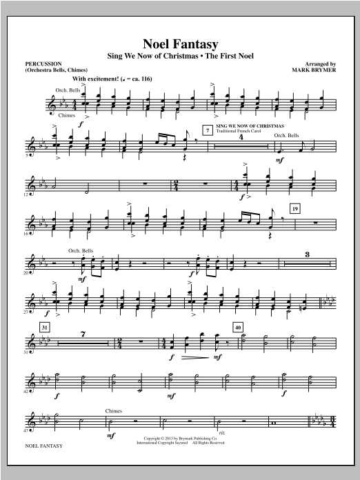 Mark Brymer Noel Fantasy - Percussion sheet music notes and chords. Download Printable PDF.