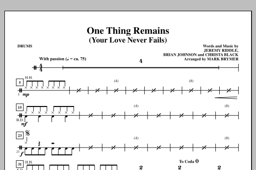 Mark Brymer One Thing Remains (Your Love Never Fails) - Drums sheet music notes and chords. Download Printable PDF.