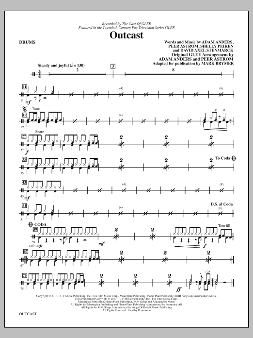 Mark Brymer Outcast - Drums sheet music notes and chords. Download Printable PDF.