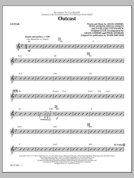 Mark Brymer Outcast - Guitar sheet music notes and chords. Download Printable PDF.