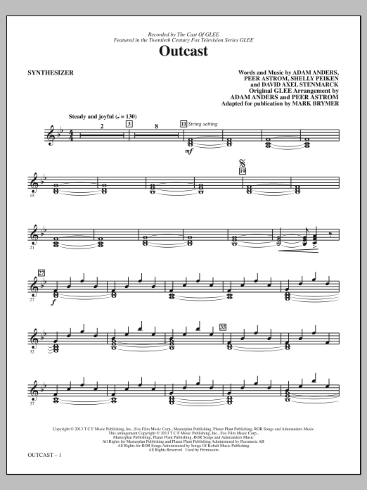 Mark Brymer Outcast - Synthesizer sheet music notes and chords. Download Printable PDF.