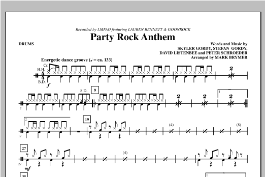 Mark Brymer Party Rock Anthem Drums Sheet Music Pdf Notes Chords Pop Score Choir Instrumental Pak Download Printable Sku 314534