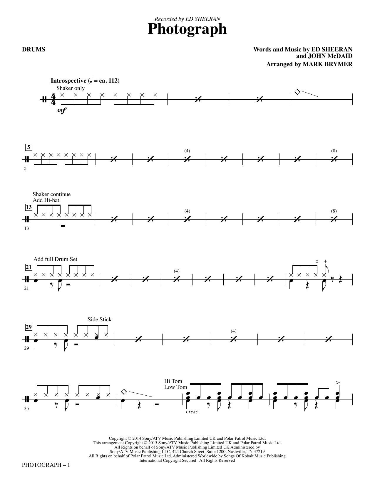 Mark Brymer Photograph - Drums sheet music notes and chords. Download Printable PDF.