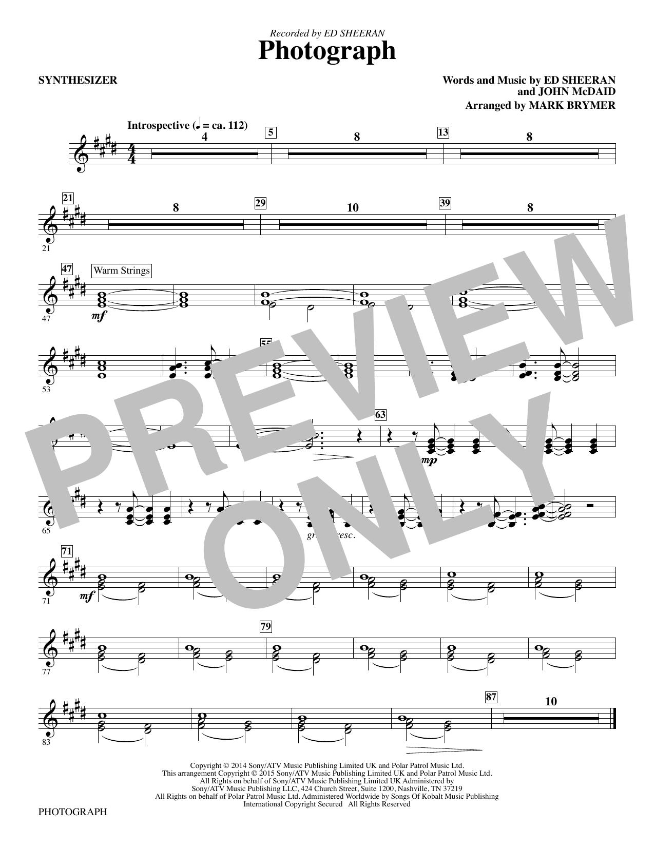 Mark Brymer Photograph - Synthesizer sheet music notes and chords. Download Printable PDF.