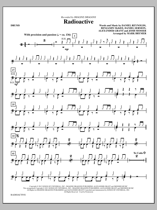 Mark Brymer Radioactive - Drums sheet music notes and chords. Download Printable PDF.