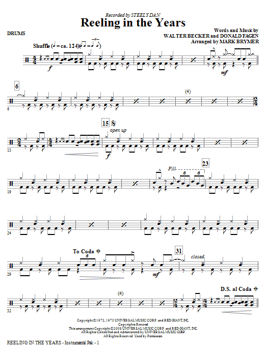 Mark Brymer Reeling In The Years - Drums sheet music notes and chords. Download Printable PDF.