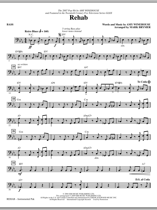 Mark Brymer Rehab - Bass sheet music notes and chords. Download Printable PDF.
