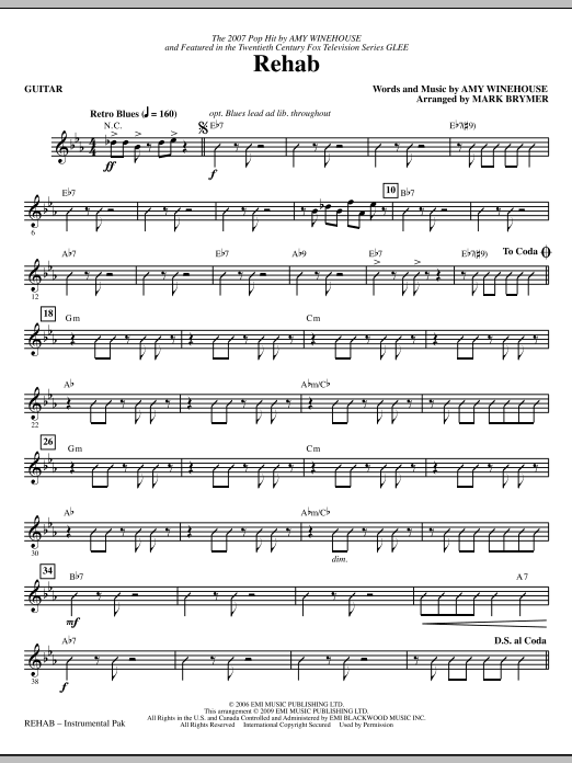 Mark Brymer Rehab - Guitar sheet music notes and chords. Download Printable PDF.