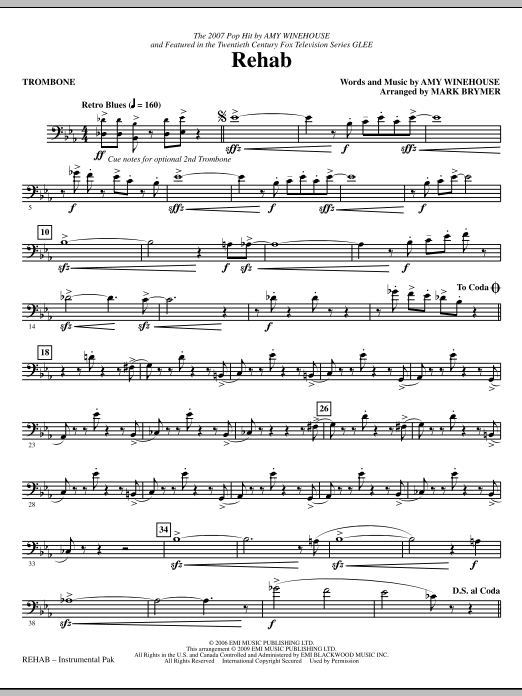 Mark Brymer Rehab - Trombone sheet music notes and chords. Download Printable PDF.