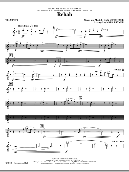 Mark Brymer Rehab - Trumpet 2 sheet music notes and chords. Download Printable PDF.
