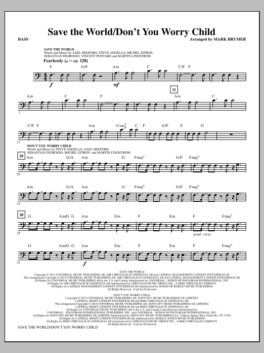 Mark Brymer Save The World Don T You Worry Child Bass Sheet Music Pdf Notes Chords Inspirational Score Choir Instrumental Pak Download Printable Sku 329995