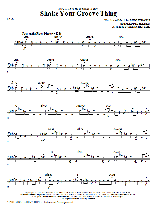 Mark Brymer Shake Your Groove Thing - Bass sheet music notes and chords. Download Printable PDF.