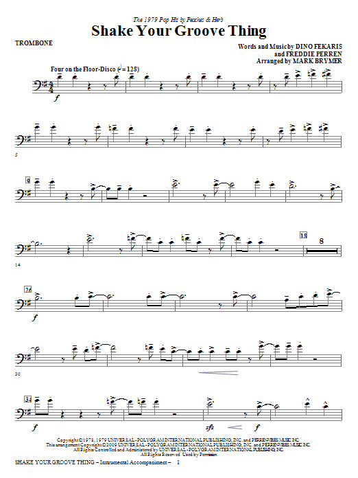 Mark Brymer Shake Your Groove Thing - Trombone sheet music notes and chords. Download Printable PDF.