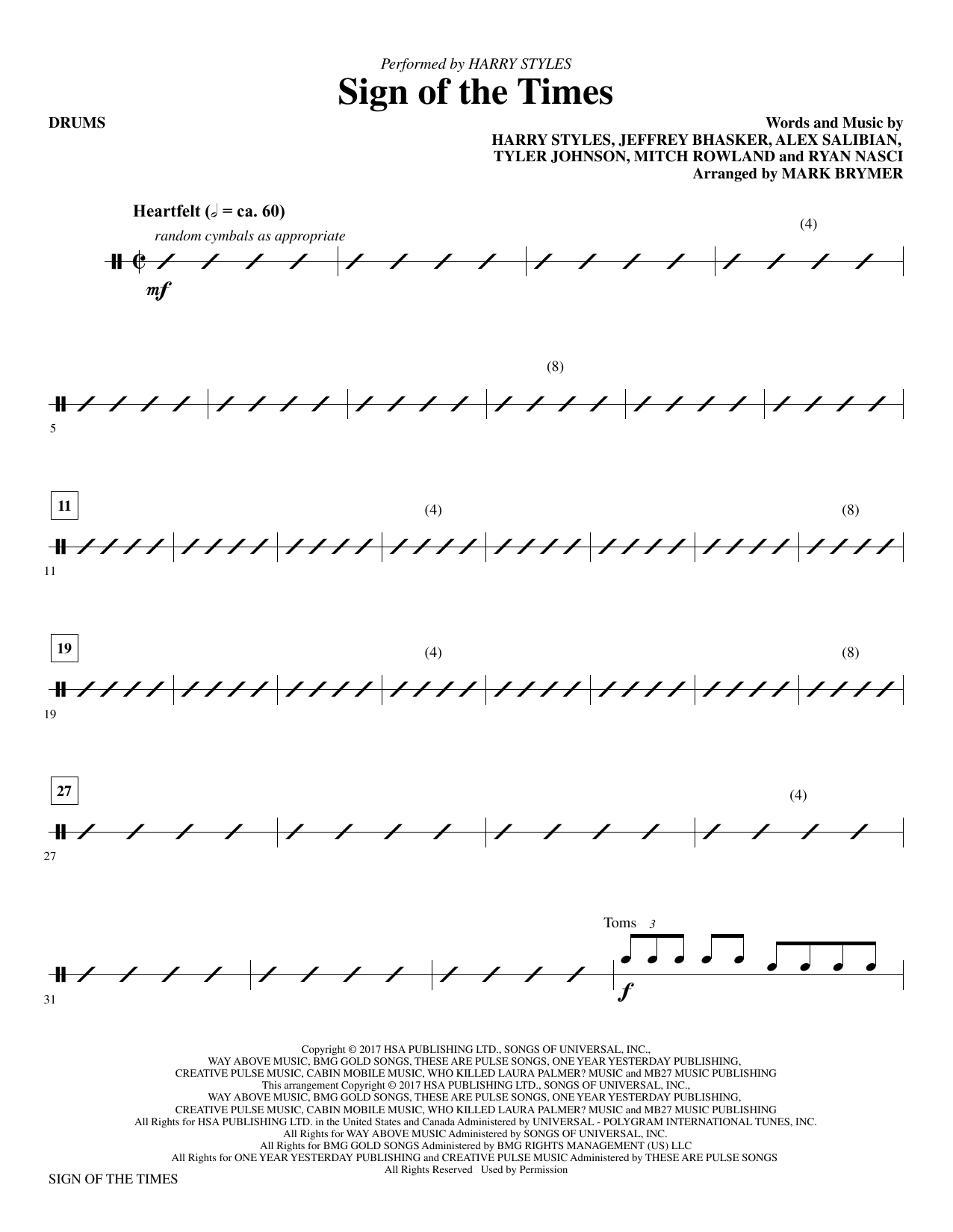 Mark Brymer Sign of the Times - Drums sheet music notes and chords. Download Printable PDF.