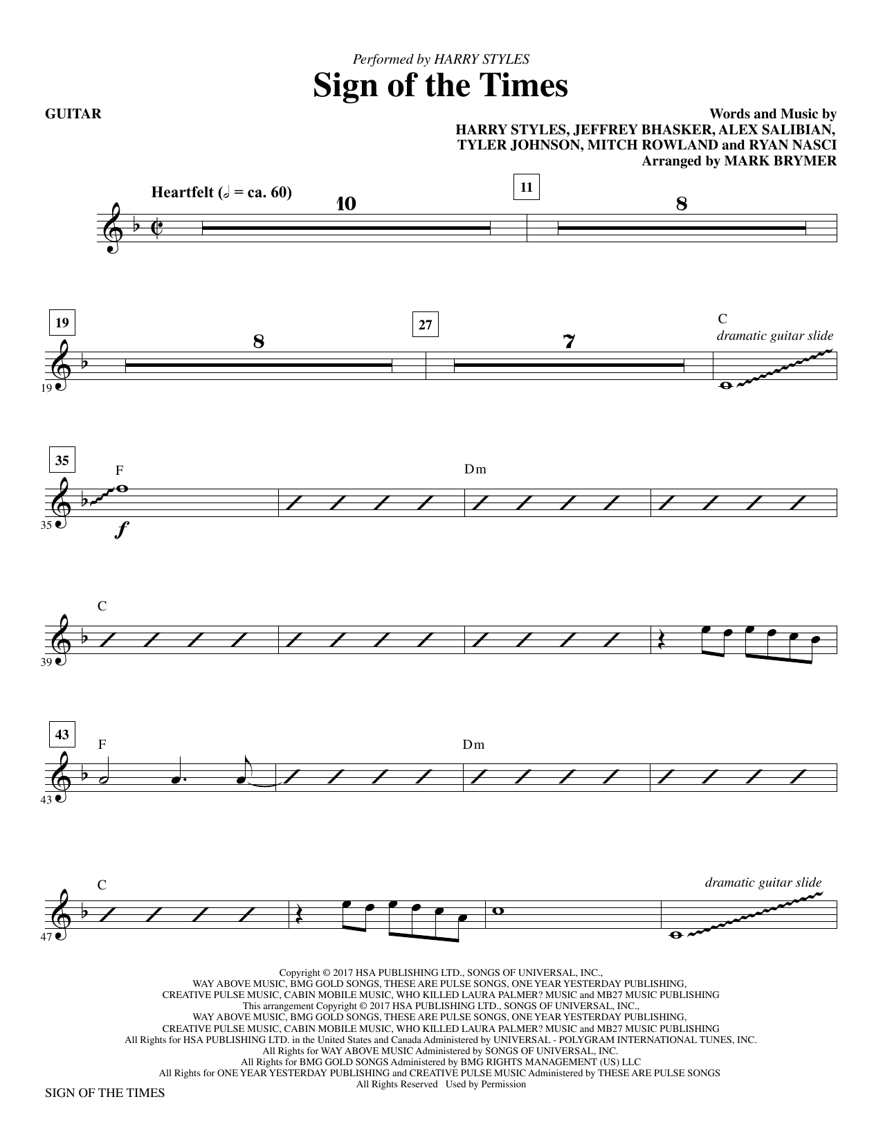 Mark Brymer Sign of the Times - Guitar sheet music notes and chords. Download Printable PDF.