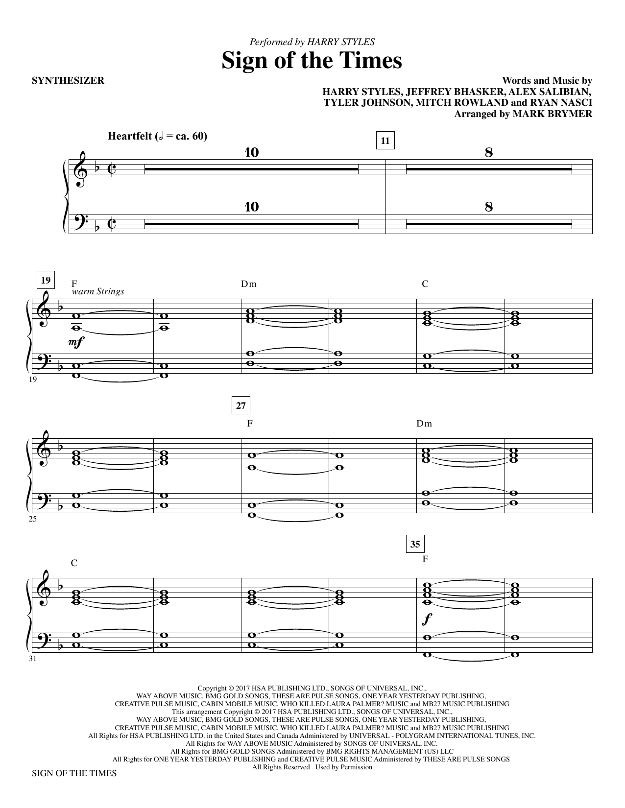 Mark Brymer Sign of the Times - Synthesizer sheet music notes and chords. Download Printable PDF.