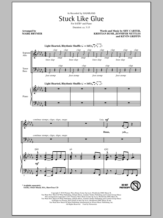 Mark Brymer Stuck Like Glue sheet music notes and chords. Download Printable PDF.