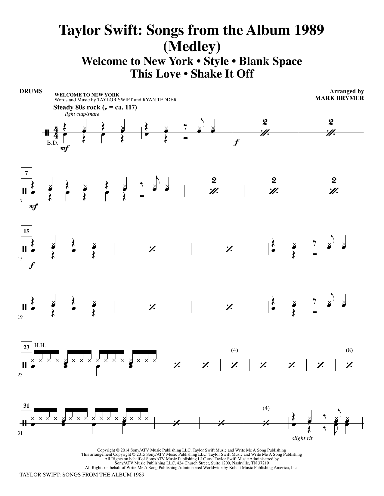 Mark Brymer Taylor Swift: Songs from the Album 1989 - Drums sheet music notes and chords. Download Printable PDF.