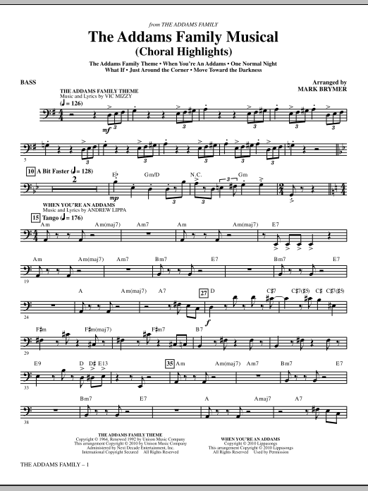 Mark Brymer The Addams Family Musical (Choral Highlights) - Bass sheet music notes and chords. Download Printable PDF.