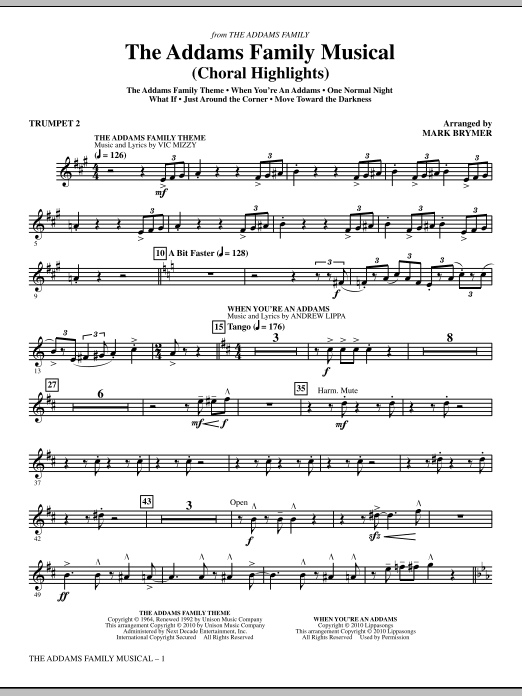 Mark Brymer The Addams Family Musical (Choral Highlights) - Bb Trumpet 2 sheet music notes and chords. Download Printable PDF.