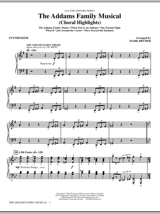 Mark Brymer The Addams Family Musical (Choral Highlights) - Synthesizer sheet music notes and chords. Download Printable PDF.