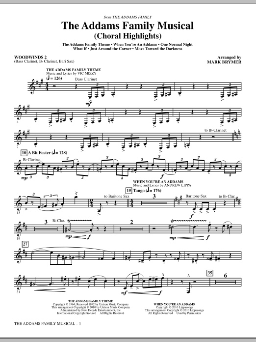 Mark Brymer The Addams Family Musical (Choral Highlights) - Woodwind II sheet music notes and chords. Download Printable PDF.