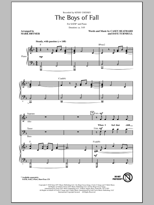 Mark Brymer The Boys Of Fall sheet music notes and chords. Download Printable PDF.