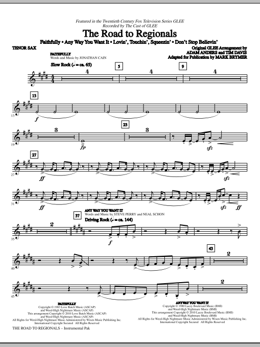 Mark Brymer The Road To Regionals (featured on Glee) - Tenor Sax sheet music notes and chords. Download Printable PDF.