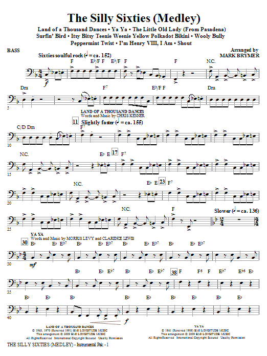 Mark Brymer The Silly Sixties (Medley) - Bass sheet music notes and chords. Download Printable PDF.