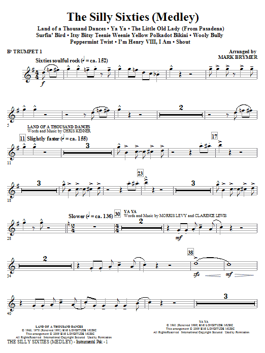 Mark Brymer The Silly Sixties (Medley) - Bb Trumpet 1 sheet music notes and chords. Download Printable PDF.