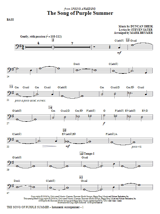 Mark Brymer The Song Of Purple Summer - Bass sheet music notes and chords. Download Printable PDF.