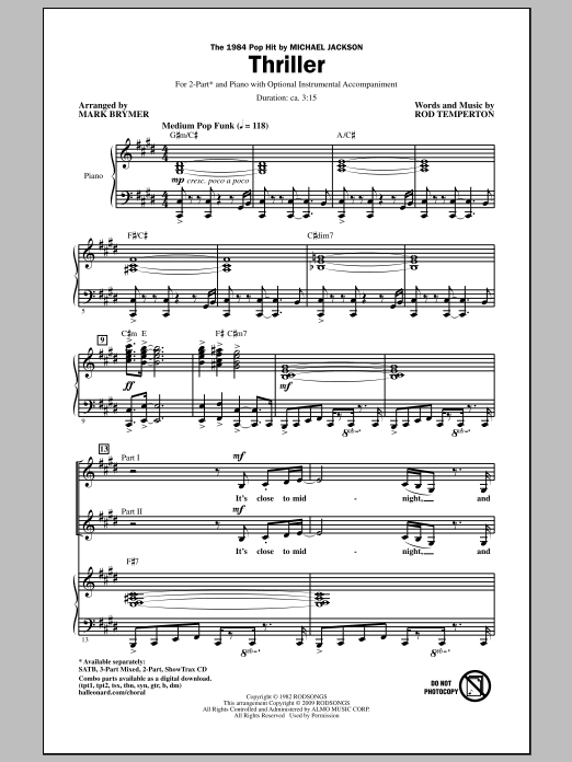Mark Brymer Thriller sheet music notes and chords