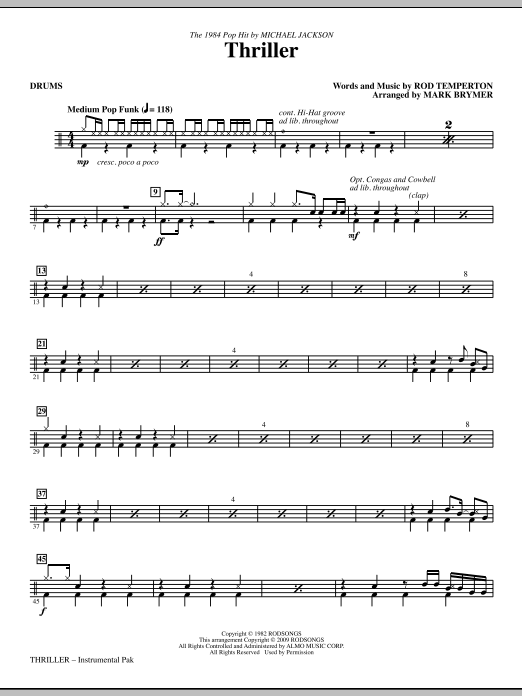 Mark Brymer Thriller - Drums sheet music notes and chords. Download Printable PDF.