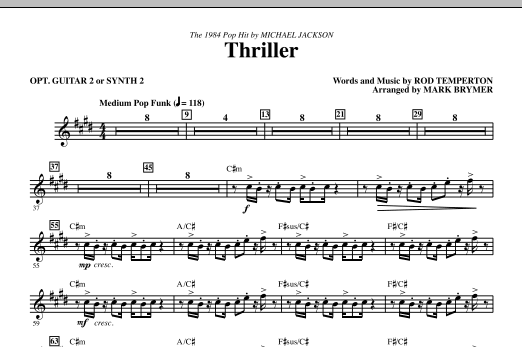 Mark Brymer Thriller - opt. Guitar 2 or Synth 2 sheet music notes and chords. Download Printable PDF.