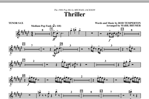 Mark Brymer Thriller - Tenor Sax sheet music notes and chords. Download Printable PDF.