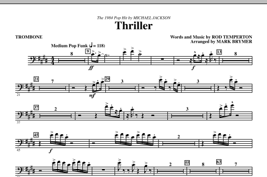 Mark Brymer Thriller - Trombone sheet music notes and chords. Download Printable PDF.