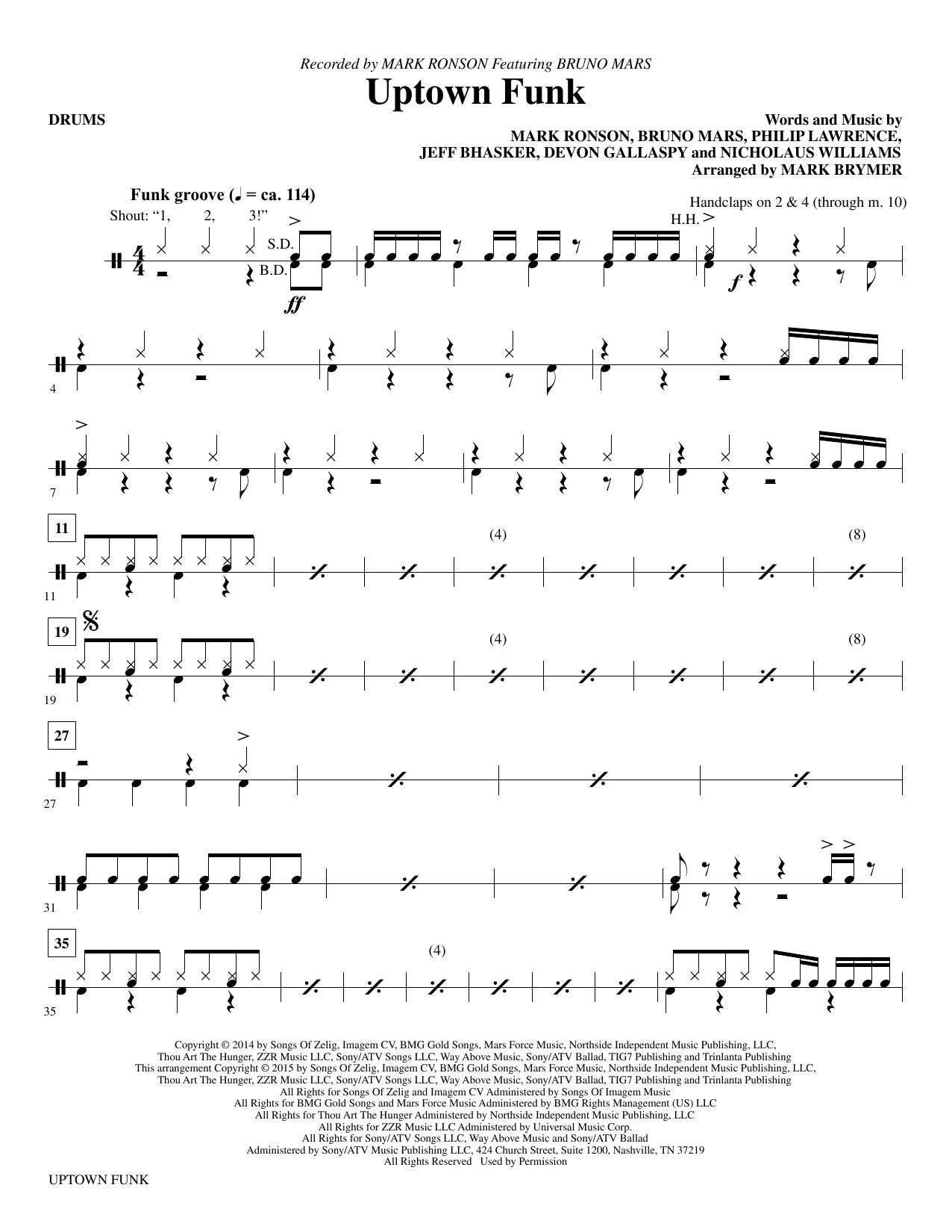 Mark Brymer Uptown Funk Drums Sheet Music Pdf Notes Chords Funk Score Choir Instrumental Pak Download Printable Sku 337310