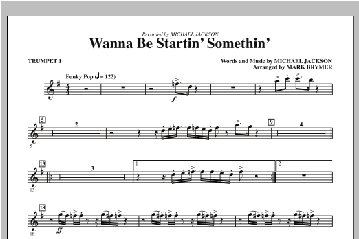 Mark Brymer Wanna Be Startin' Something - Bb Trumpet 1 sheet music notes and chords. Download Printable PDF.