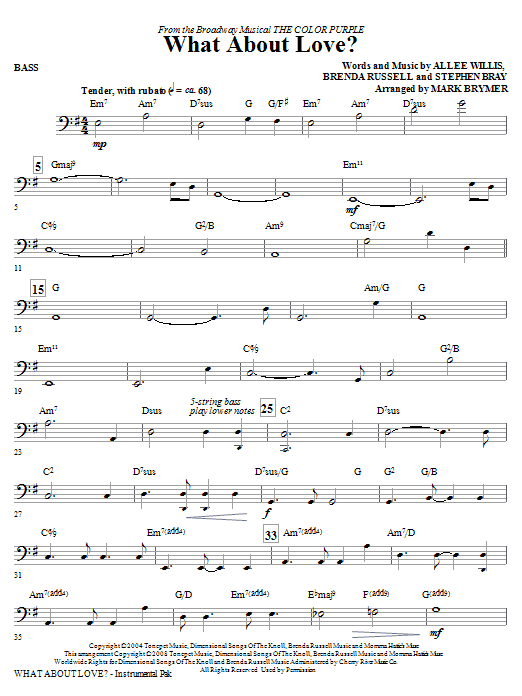 Mark Brymer What About Love? (from The Color Purple) - Bass sheet music notes and chords. Download Printable PDF.