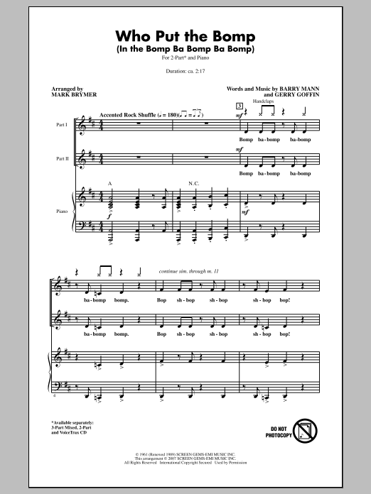 Mark Brymer Who Put The Bomp (In The Bomp Ba Bomp Ba Bomp) sheet music notes and chords. Download Printable PDF.