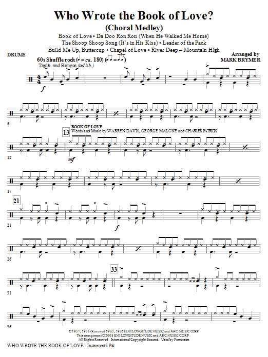 Mark Brymer Who Wrote The Book Of Love? (Choral Medley) - Drums sheet music notes and chords. Download Printable PDF.