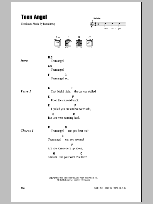 Mark Dinning Teen Angel sheet music notes and chords. Download Printable PDF.