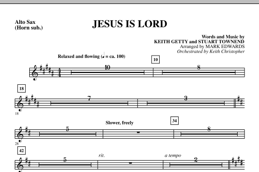 Mark Edwards Jesus Is Lord - Alto Sax (sub. Horn) sheet music notes and chords. Download Printable PDF.