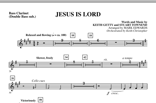 Mark Edwards Jesus Is Lord - Bass Clarinet (sub. dbl bass) sheet music notes and chords. Download Printable PDF.