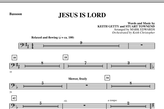 Mark Edwards Jesus Is Lord - Bassoon sheet music notes and chords. Download Printable PDF.